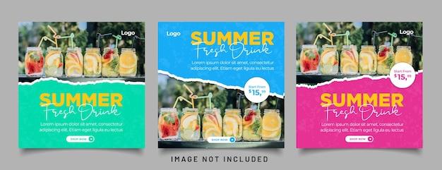 Modelo de postagem de mídia social para menu de bebidas especiais de verão