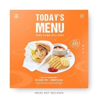 Modelo de postagem de mídia social para moldura de banner de promoção de menu de comida