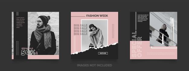 Modelo de postagem de mídia social para venda de moda