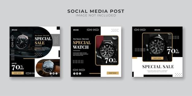 Modelo de postagem de mídia social para venda de relógios especiais