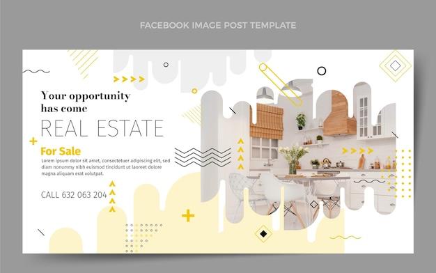 Modelo de postagem de mídia social plana abstrata geométrica imobiliária