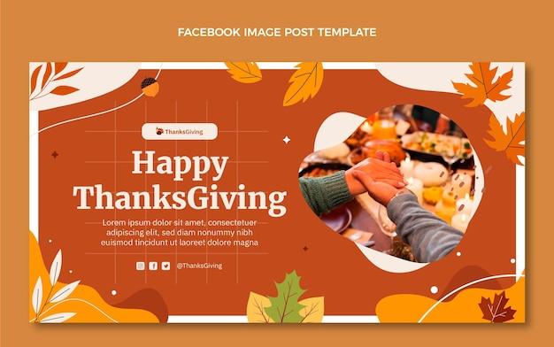 Modelo de postagem de mídia social plana desenhada à mão para o dia de ação de graças