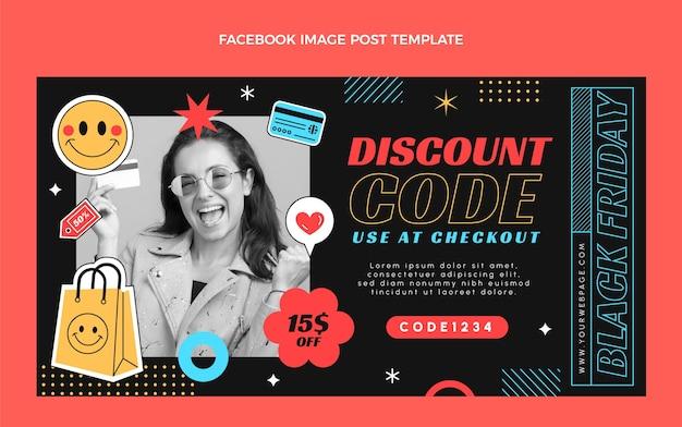 Modelo de postagem de mídia social plana preta sexta-feira