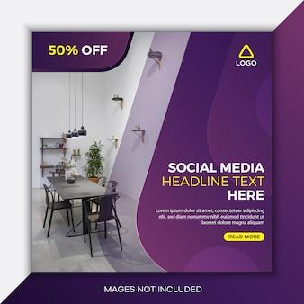 Modelo de postagem de mídia social quadrada