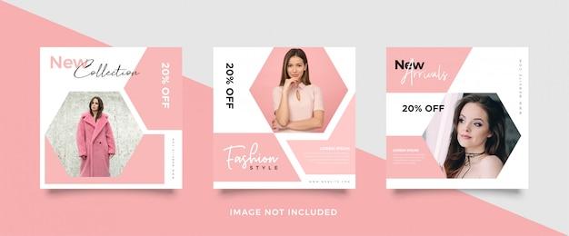 Modelo de postagem de mídia social rosa minimalista