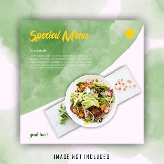 Modelo de postagem de mídia social verde amarelo salada aquarela comida saudável