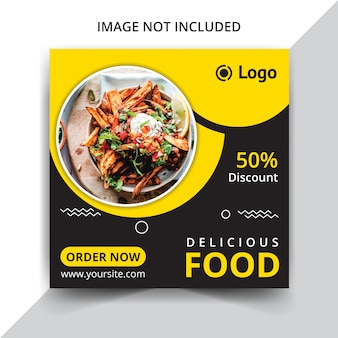 Modelo de postagem de mídias sociais de comida deliciosa