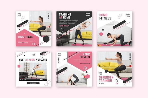 Modelo de postagem de mídias sociais de fitness em casa