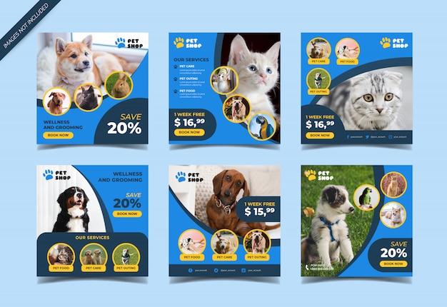 Modelo de postagem de mídias sociais de pet shop
