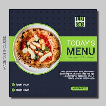 Modelo de postagem de mídias sociais do menu culinária