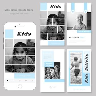 Modelo de postagem de moda de mídia social de crianças