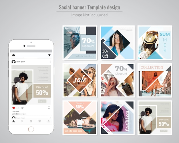 Modelo de postagem de moda social media