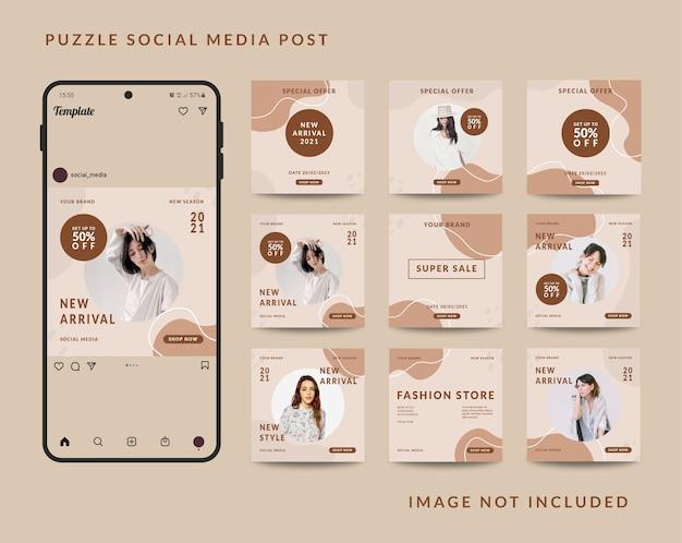 Modelo de postagem de quebra-cabeça em mídia social