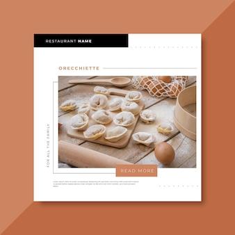 Modelo de postagem de restaurante de comida no facebook