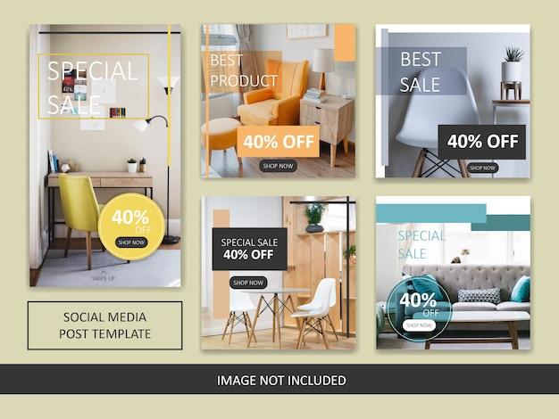 Modelo de postagem de venda de móveis minimalista do instagram