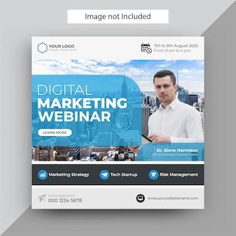 Modelo de postagem de webinar de marketing digital, modelo de postagem de instagram