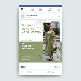 Modelo de postagem de zero desperdício do facebook