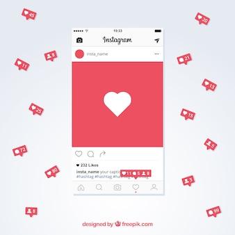 Modelo de postagem do instagram com notificações