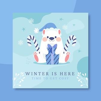 Modelo de postagem do instagram de inverno desenhado à mão