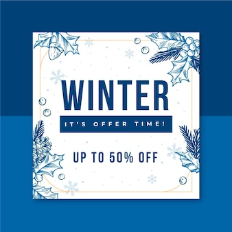 Modelo de postagem do instagram de inverno ilustrado