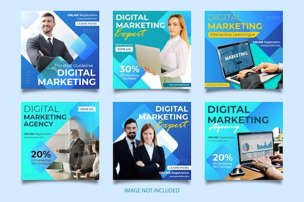 Modelo de postagem do instagram de marketing digital, fácil de editar e usar
