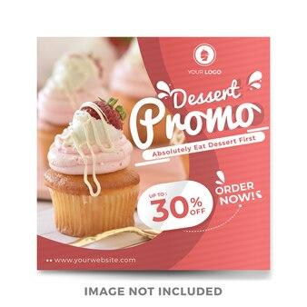 Modelo de postagem do instagram de mídia social de venda de alimentos