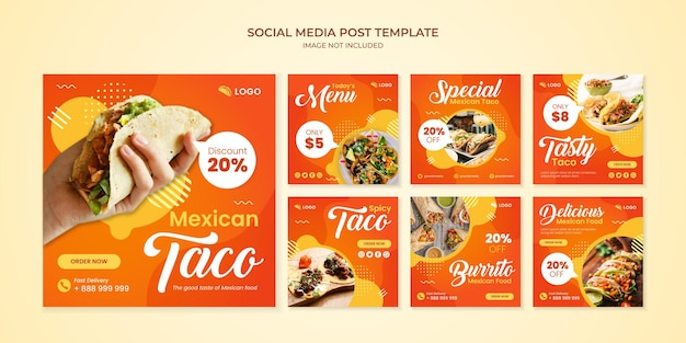 Modelo de postagem do instagram de mídia social taco para restaurante de comida mexicana