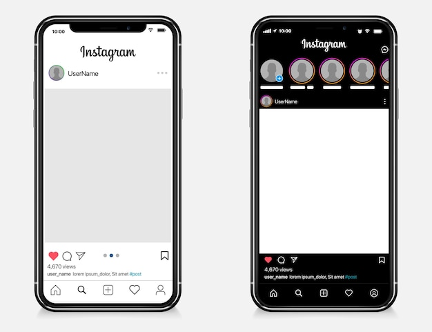 Modelo de postagem do instagram definido no iphone da apple