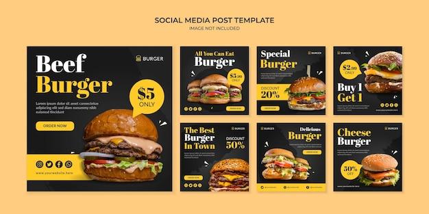 Modelo de postagem do instagram para hambúrguer de carne nas redes sociais para restaurante fast food