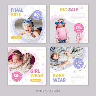 Modelo de postagem do instagram para roupas de bebê