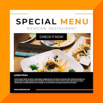 Modelo de postagem do restaurante de comida do facebook