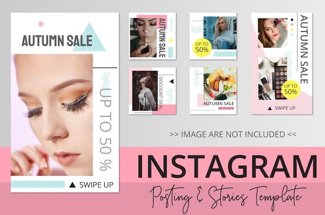 Modelo de postagem e histórias do Instagram de beleza