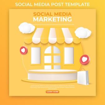 Modelo de postagem editável em mídia social para promoção