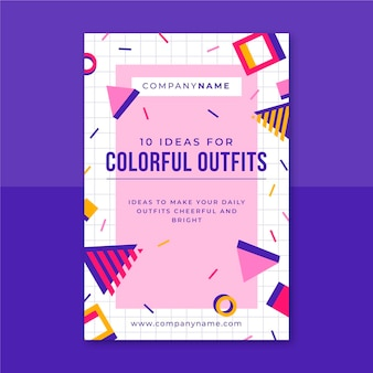Modelo de postagem em blog sobre moda colorida em memphis