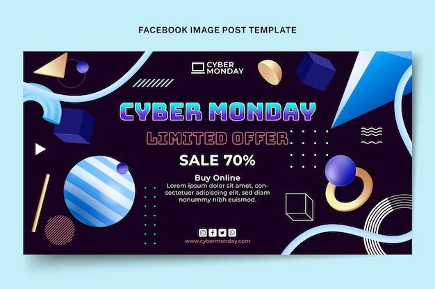 Modelo de postagem em mídia social cibernética realista de segunda-feira