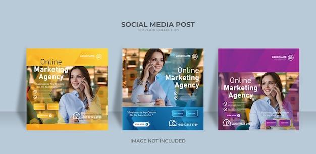 Modelo de postagem em mídia social de banner da agência de marketing do design onine