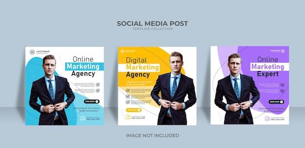 Modelo de postagem em mídia social de banner elegante da agência de marketing onine