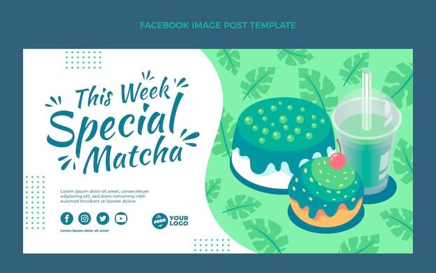 Modelo de postagem em mídia social de comida matcha plana