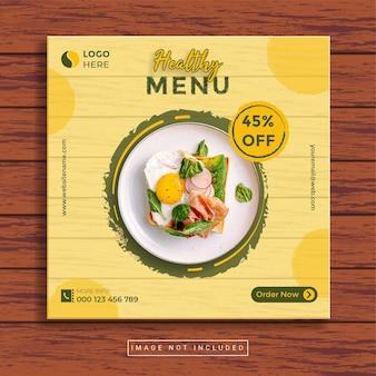 Modelo de postagem em mídia social de comida saudável