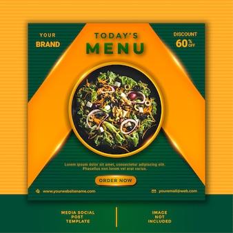 Modelo de postagem em mídia social de culinária para restaurantes