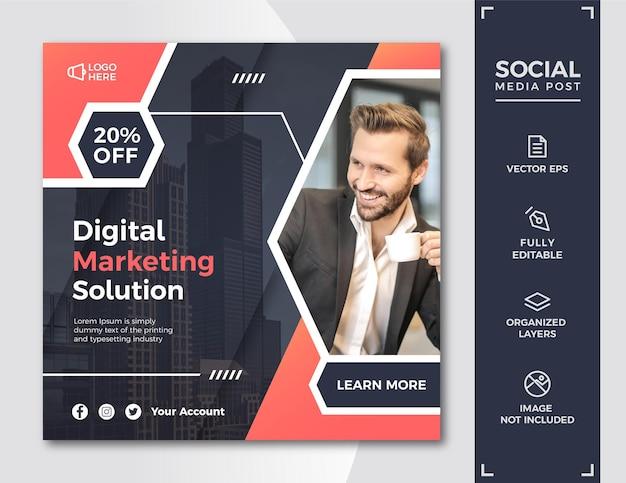Modelo de postagem em mídia social de marketing digital