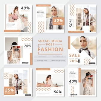 Modelo de postagem em mídia social de moda