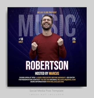 Modelo de postagem em mídia social de música