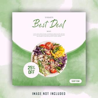 Modelo de postagem em mídia social de salada verde aquarela comida saudável