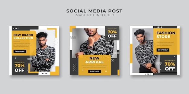 Modelo de postagem em mídia social de venda de moda masculina