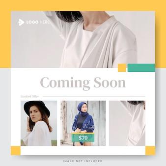 Modelo de postagem em mídia social de venda de moda minimalista