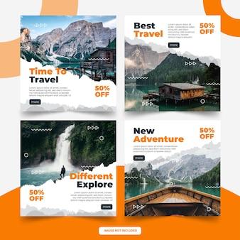 Modelo de postagem em mídia social de viagens