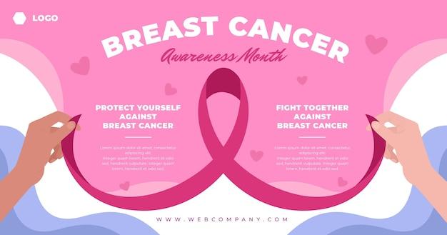 Modelo de postagem em mídia social do mês de conscientização sobre o câncer de mama desenhado à mão
