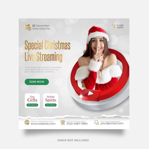 Modelo de postagem em mídia social do youtube para transmissão ao vivo de natal