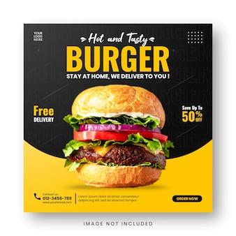 Modelo de postagem em mídia social para banner de promoção de cardápio de comida
